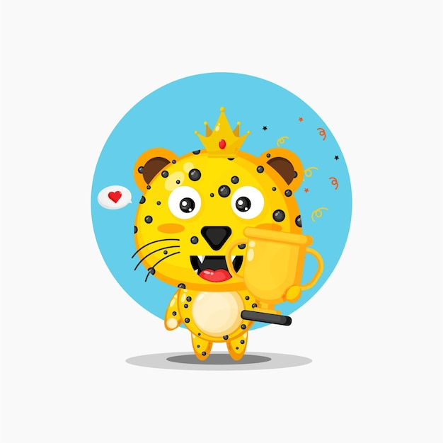 La mascotte mignonne de léopard soulève le trophée