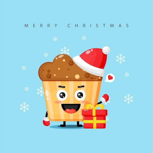 La mascotte mignonne de muffin vous souhaite un joyeux noël