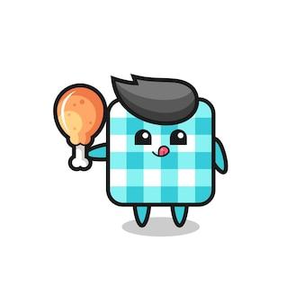 La mascotte mignonne de nappe à carreaux mange un poulet frit, un design de style mignon pour un t-shirt, un autocollant, un élément de logo