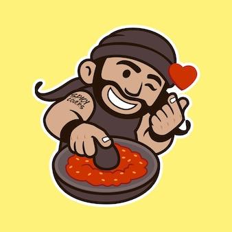 Mascotte mignonne de nourriture épicée avec l'illustration heureuse de visage
