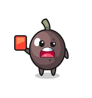 Mascotte mignonne d'olive noire en tant qu'arbitre donnant un carton rouge, design de style mignon pour t-shirt, autocollant, élément de logo