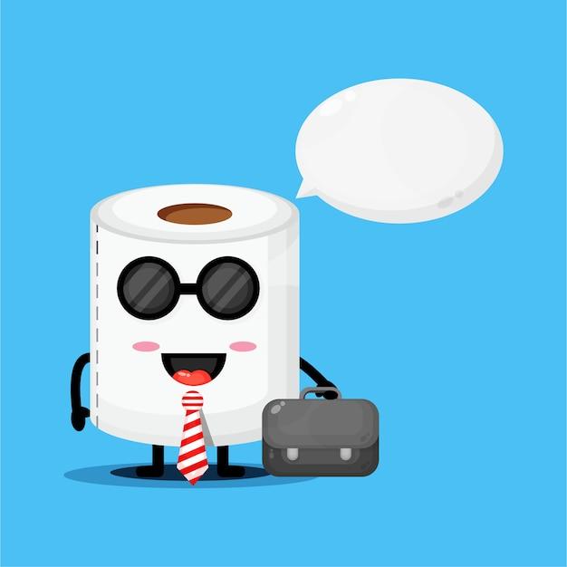 La mascotte mignonne de papier toilette va au bureau