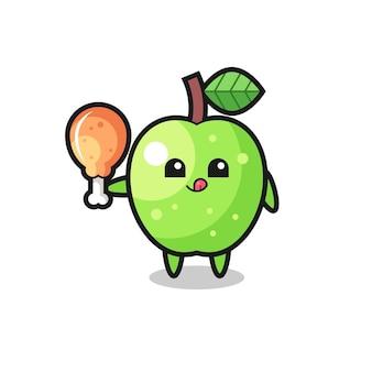 La mascotte mignonne de pomme verte mange un poulet frit, un design de style mignon pour un t-shirt, un autocollant, un élément de logo
