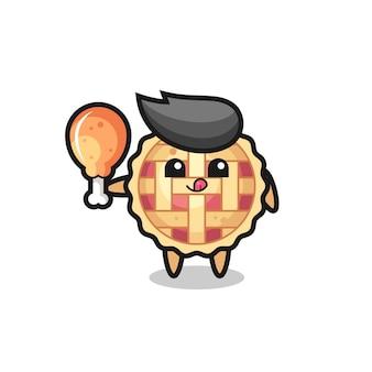 La mascotte mignonne de tarte aux pommes mange un poulet frit, un design de style mignon pour un t-shirt, un autocollant, un élément de logo