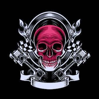 Mascotte de motard crâne
