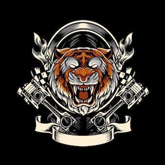 Mascotte De Motard Tigre Vecteur Premium