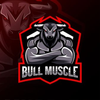 Mascotte de muscle de taureau logo esport