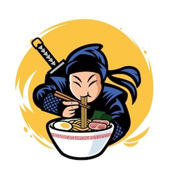 La mascotte ninja mange des ramen avec le mot japonais signifie ramen