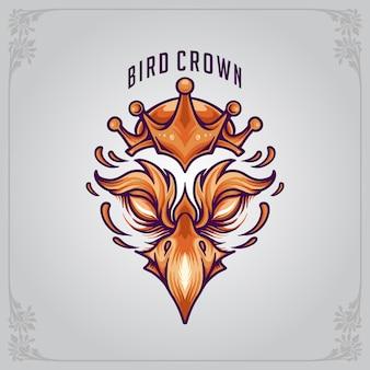 Mascotte d'oiseau avec logo couronné