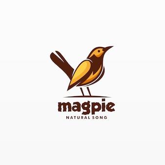 Mascotte d'oiseau logo magpie