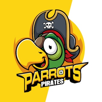 Mascotte d'oiseaux tête de perroquets pirates