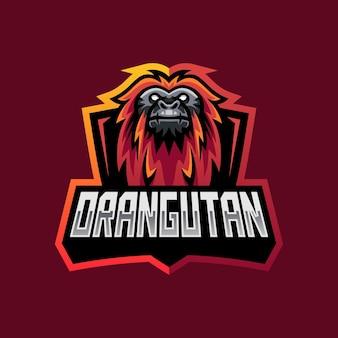 Mascotte d'orang-outan pour le logo de l'équipe d'esport et de sport