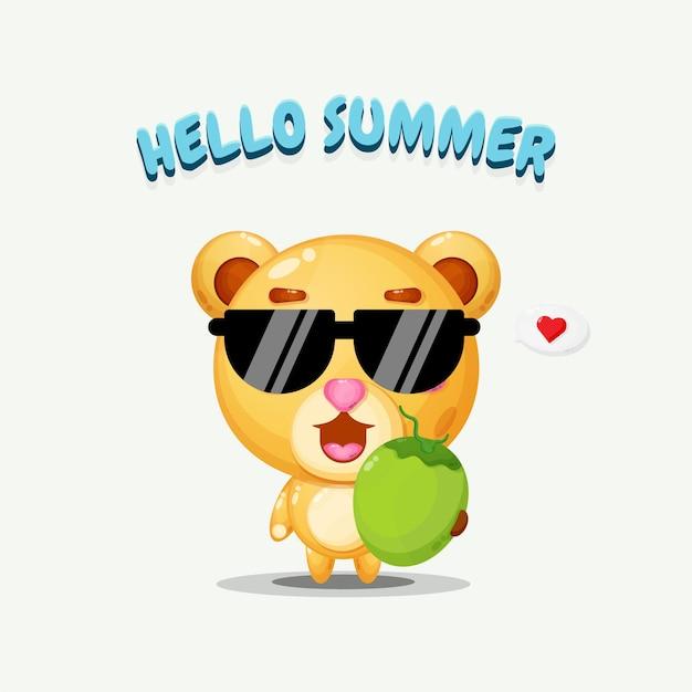 Mascotte d'ours mignon portant de la noix de coco avec des salutations d'été