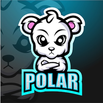 Mascotte d'ours polaire esport illustration