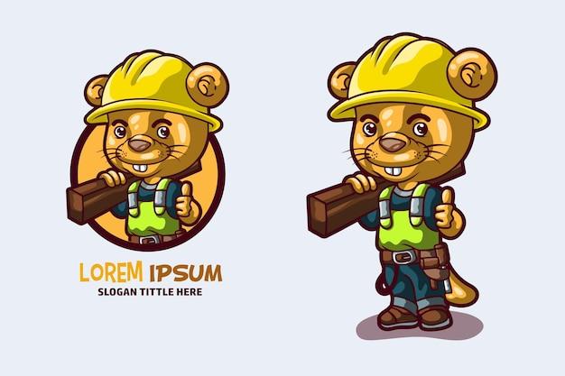 Mascotte d'ouvrier de construction de loutre