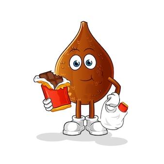 Mascotte de palme épineuse mange du chocolat