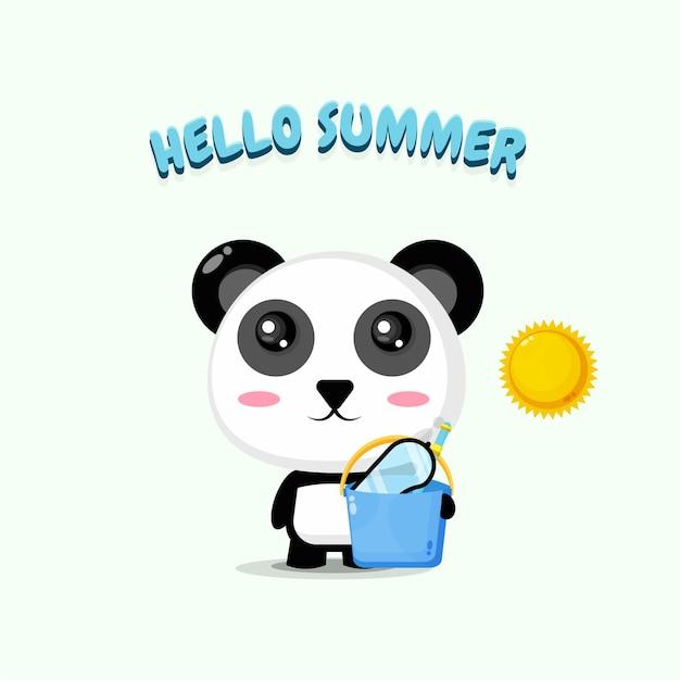 Mascotte De Panda Mignon Portant Un Seau Avec Des Salutations D'été Vecteur Premium