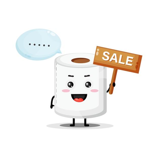 Mascotte de papier toilette mignon avec le signe des ventes