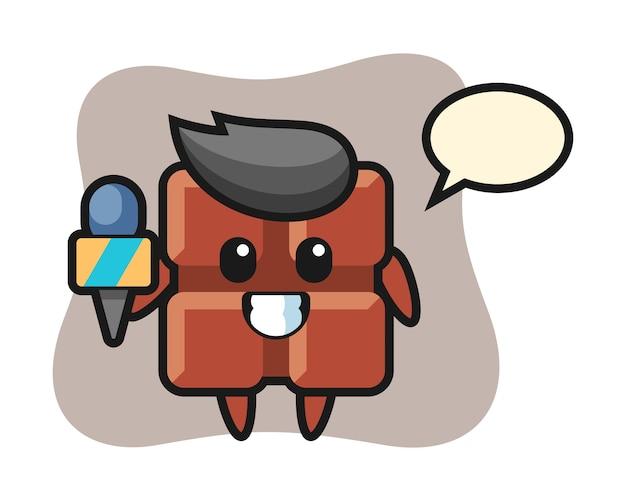 Mascotte de personnage de barre de chocolat en tant que journaliste de presse, style kawaii mignon.