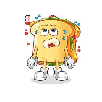 Mascotte de personnage de batterie faible sandwich