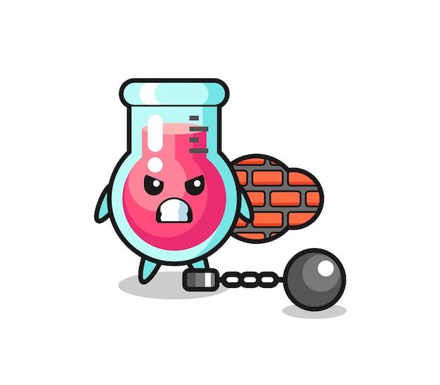 Mascotte de personnage de bécher de laboratoire en tant que prisonnier, design de style mignon pour t-shirt, autocollant, élément de logo