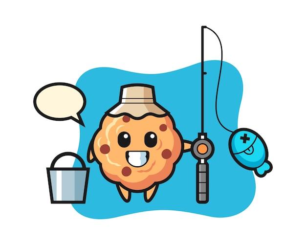 Mascotte de personnage de biscuit aux pépites de chocolat en tant que pêcheur