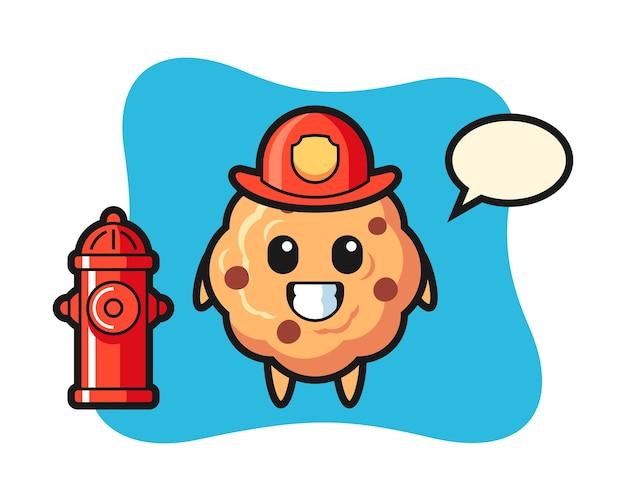Mascotte de personnage de biscuit aux pépites de chocolat en tant que pompier