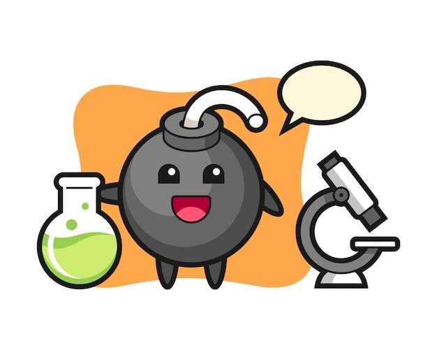 Mascotte de personnage de bombe en scientifique