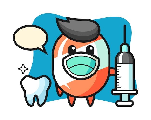 Mascotte de personnage de bonbon en dentiste