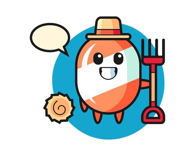 Mascotte de personnage de bonbon en tant que fermier