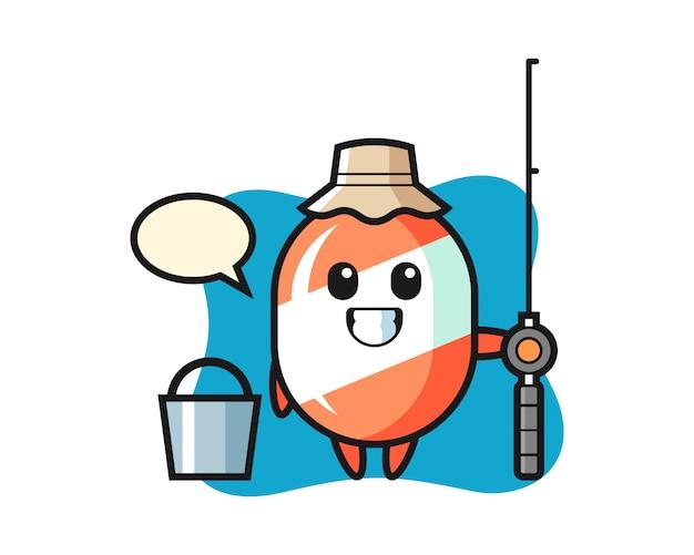 Mascotte de personnage de bonbon en tant que pêcheur