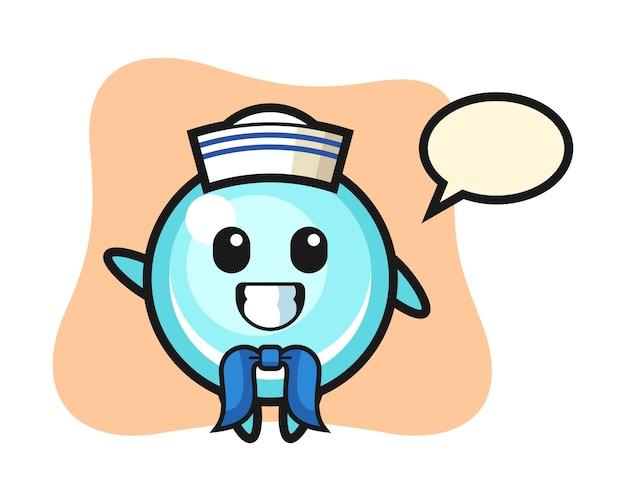 Mascotte de personnage de bulle en tant que marin, design de style mignon