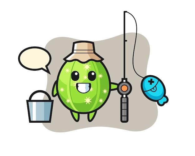 Mascotte de personnage de cactus en tant que pêcheur