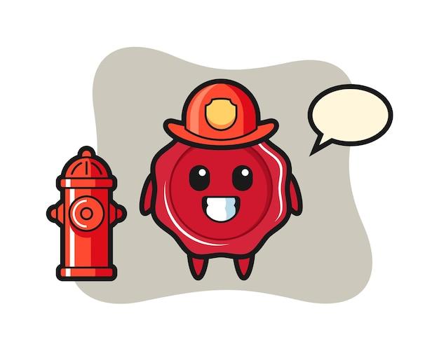 Mascotte de personnage de cire à cacheter en tant que pompier