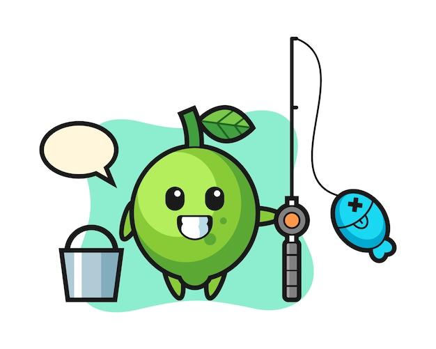 Mascotte de personnage de citron vert en tant que pêcheur, style mignon, autocollant, élément du logo