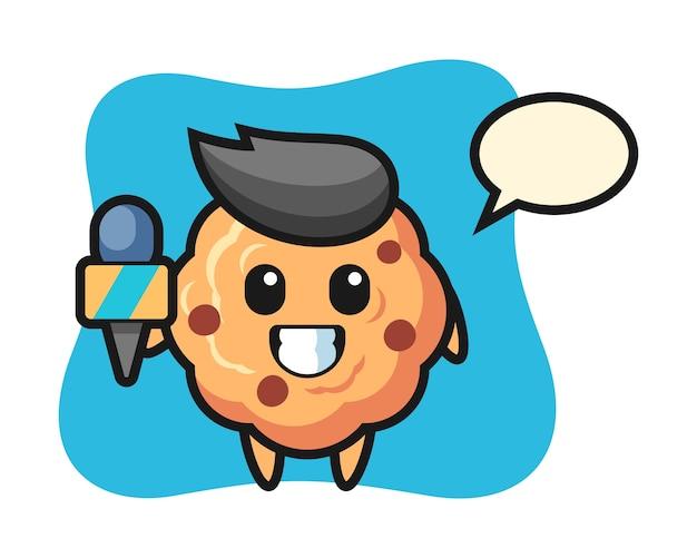 Mascotte de personnage de cookie aux pépites de chocolat en tant que journaliste