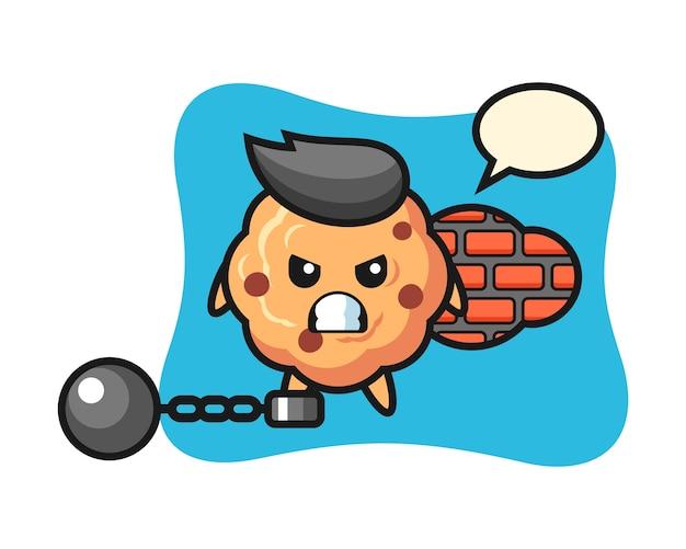 Mascotte de personnage de cookie aux pépites de chocolat en tant que prisonnier