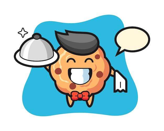 Mascotte de personnage de cookie aux pépites de chocolat en tant que serveurs