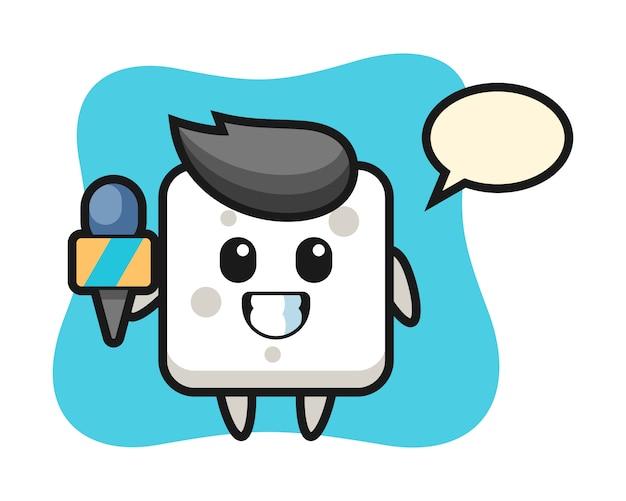 Mascotte de personnage de cube de sucre en tant que journaliste de presse, style mignon pour t-shirt, autocollant, élément de logo