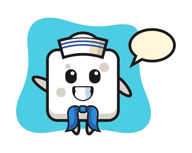 Mascotte de personnage de cube de sucre en tant que marin, style mignon pour t-shirt, autocollant, élément de logo