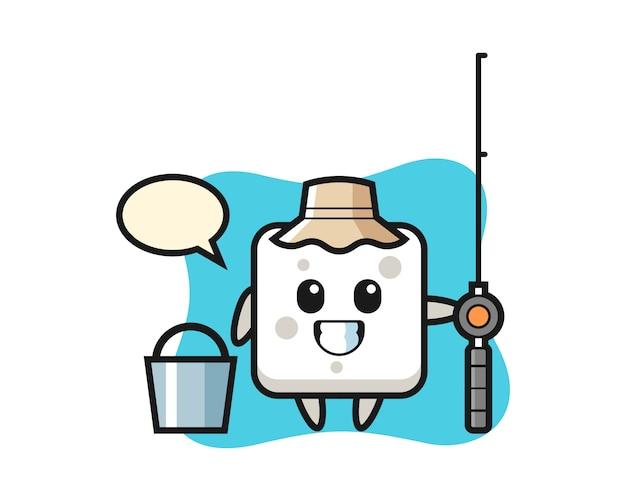 Mascotte de personnage de cube de sucre en tant que pêcheur, style mignon pour t-shirt, autocollant, élément de logo