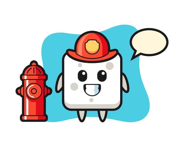 Mascotte de personnage de cube de sucre en tant que pompier, style mignon pour t-shirt, autocollant, élément de logo