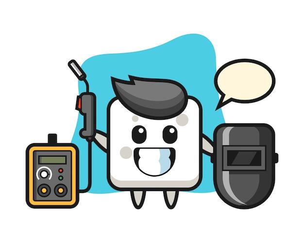 Mascotte de personnage de cube de sucre en tant que soudeur, style mignon pour t-shirt, autocollant, élément de logo