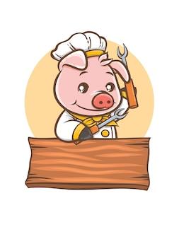 Mascotte de personnage de dessin animé de barbecue mignon chef cochon