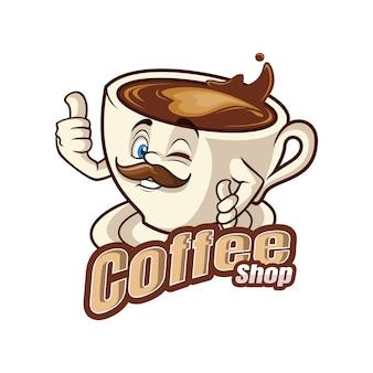 Mascotte de personnage de dessin animé de café