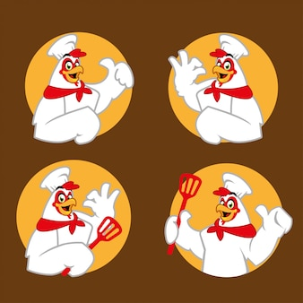 Mascotte de personnage de dessin animé de chef de poulet