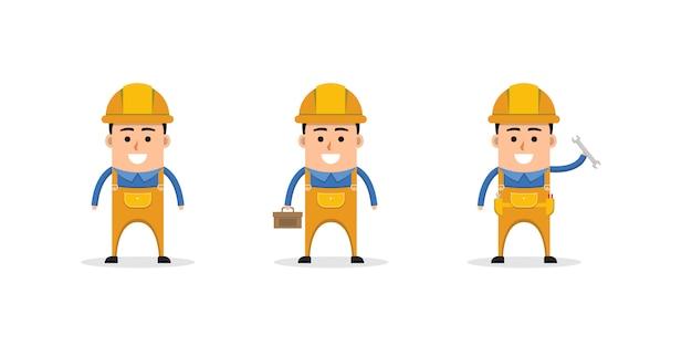 Mascotte de personnage de dessin animé mignon ingénieur