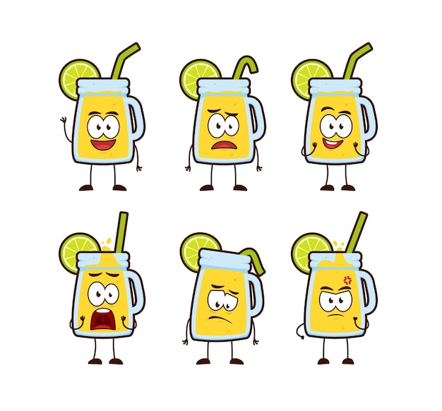 Mascotte de personnage de dessin animé mignon lime citron limonade boisson pot
