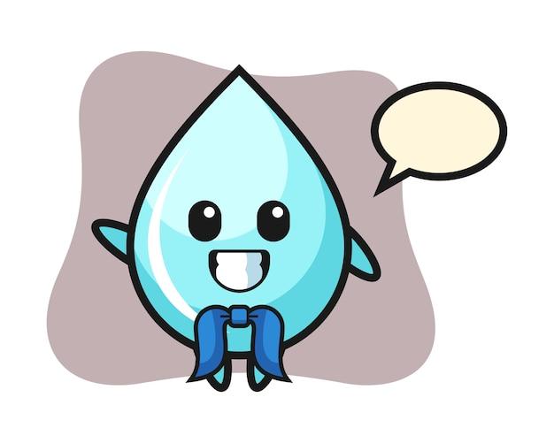 Mascotte de personnage de goutte d'eau en tant que marin, conception de style mignon pour t-shirt
