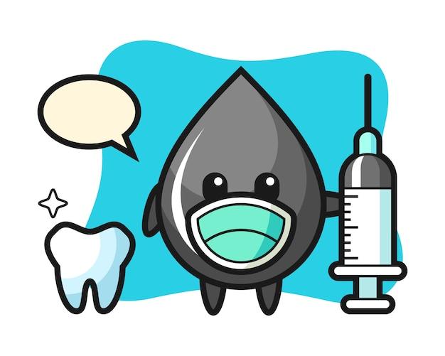 Mascotte de personnage de goutte d'huile en dentiste